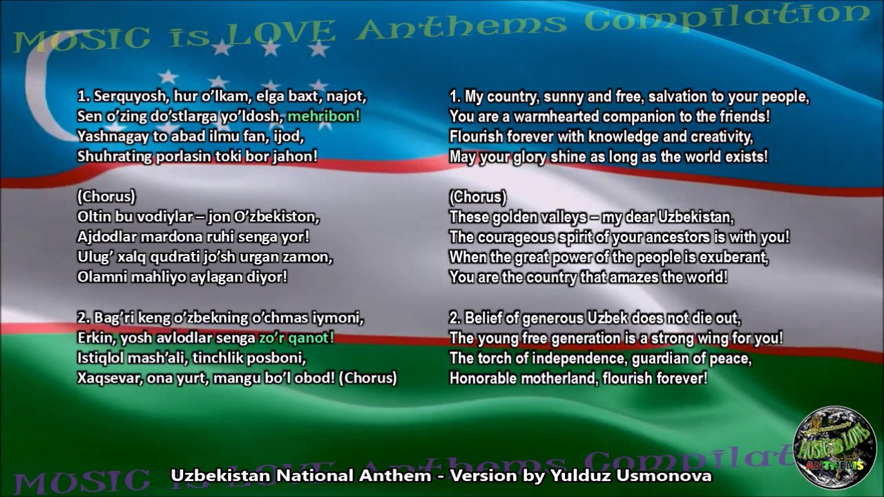 Uzbekistan National Anthem w/vocal Yulduz Usmonova, and lyrics Uzbek w/English Transl